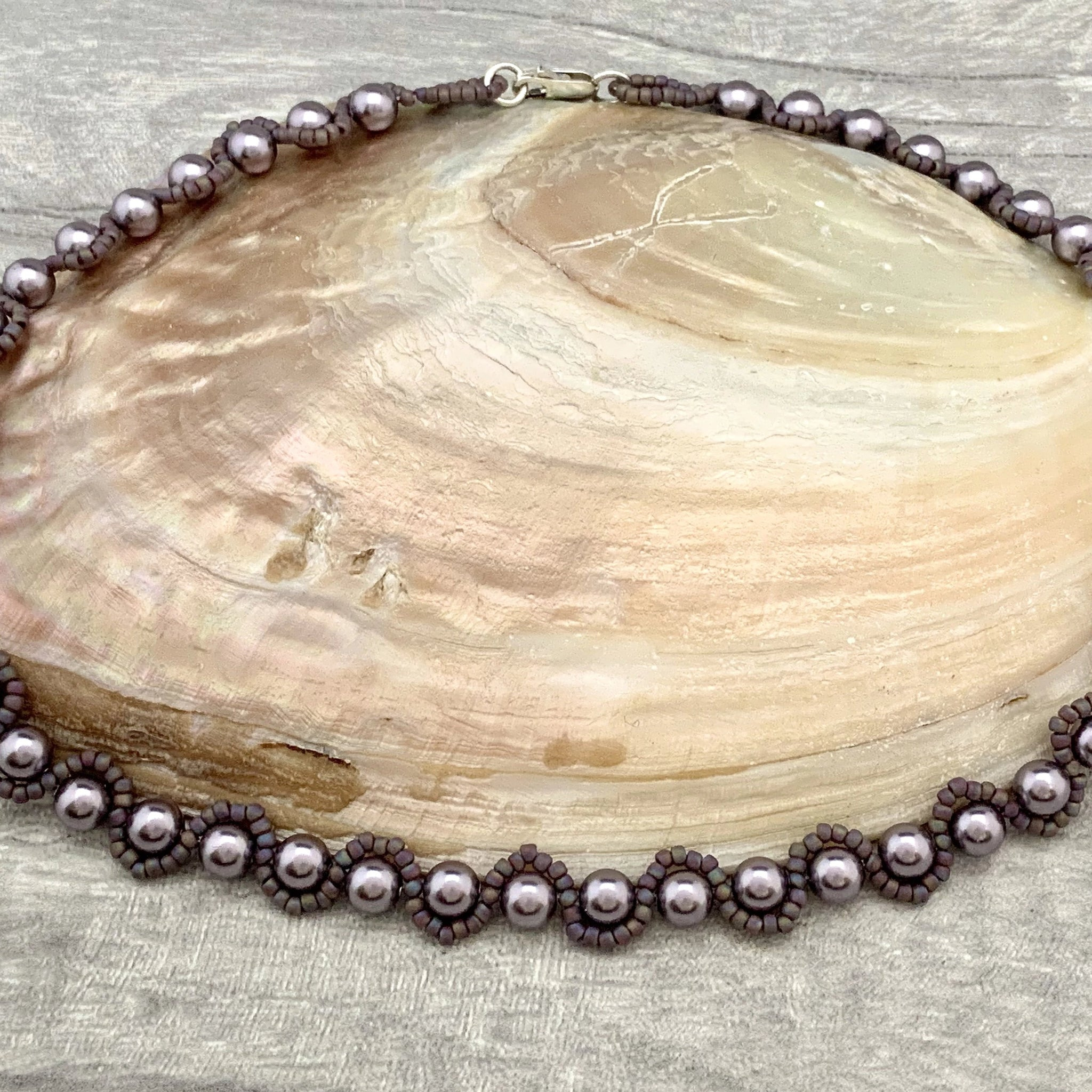 Heather Pearl Necklace - Silver Magpie Fingerprint Jewellery