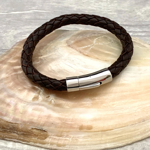 Leather Bracelet - Silver Magpie Fingerprints