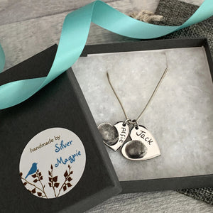 Double Heart Pendant - Silver Magpie Fingerprints