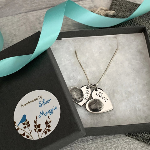 Graduated Heart Pendant - Silver Magpie Fingerprints