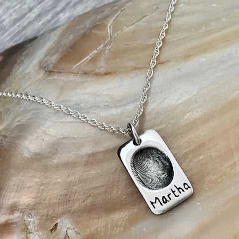 Fingerprint Dog-tags Charms - Silver Magpie Fingerprints
