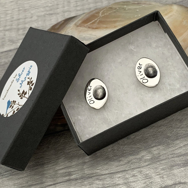 Groom Oval Fingerprint Cufflinks - Silver Magpie Fingerprint Jewellery