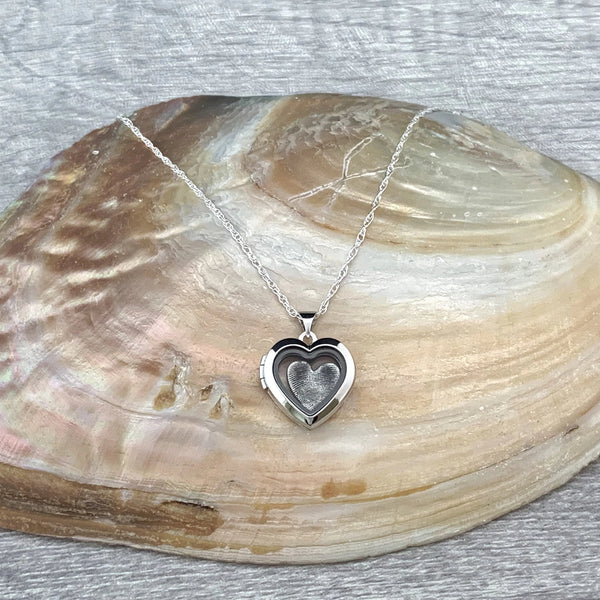 Fingerprint Heart Locket - Silver Magpie Fingerprints