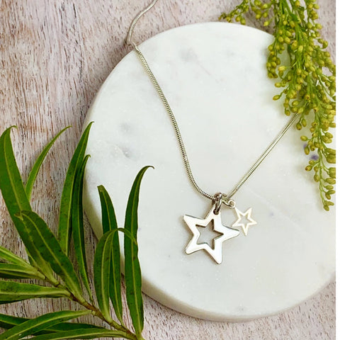 Silver Falling Stars Necklace - Silver Magpie Fingerprint Jewellery