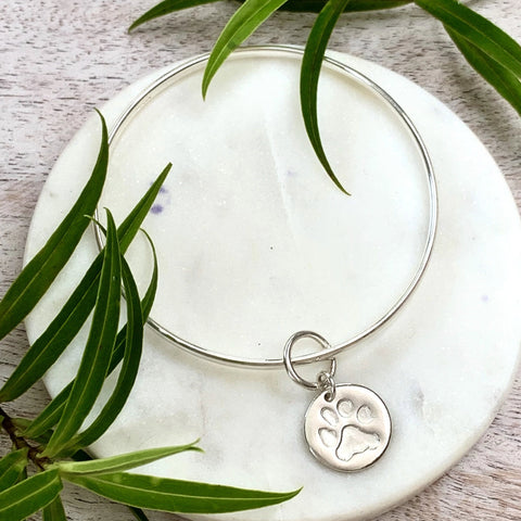 Paw Print Bangle - Silver Magpie Fingerprint Jewellery