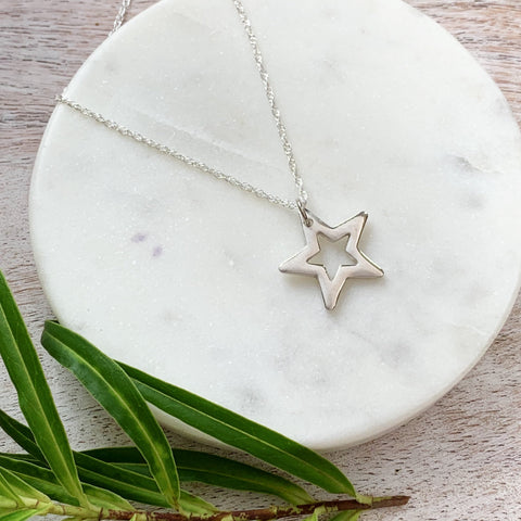 Silver Shining Star Necklace - Silver Magpie Fingerprint Jewellery
