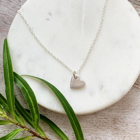 Pretty Silver Heart Necklace - Silver Magpie Fingerprint Jewellery