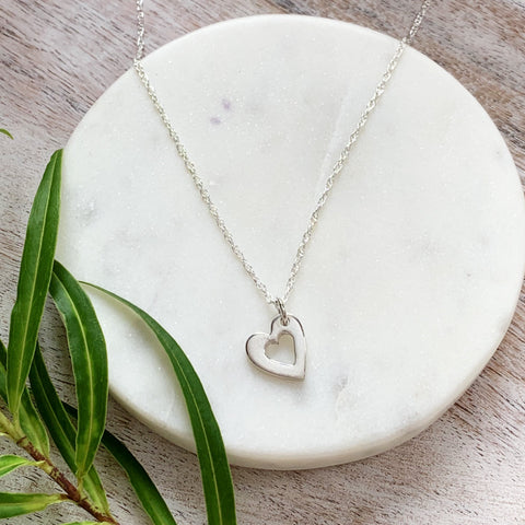 Silver Mini Heart Necklace - Silver Magpie Fingerprint Jewellery