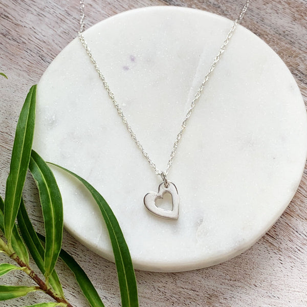 Bridesmaid Mini Heart Pendant - Silver Magpie Fingerprints