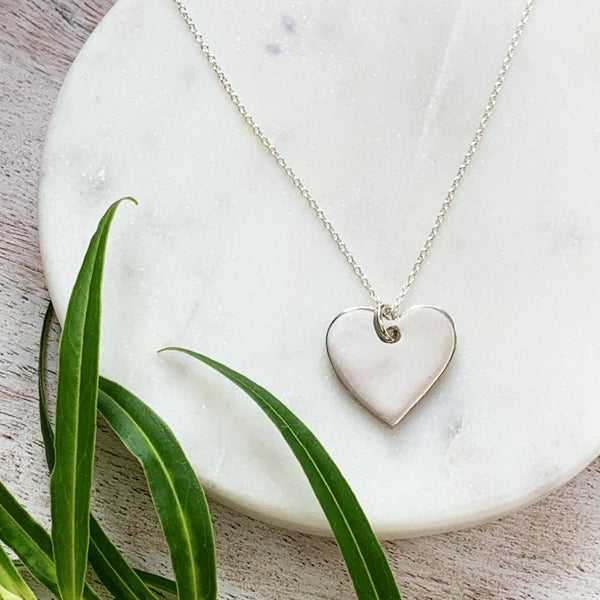 Bridesmaid Simple Heart Pendant - Silver Magpie Fingerprints