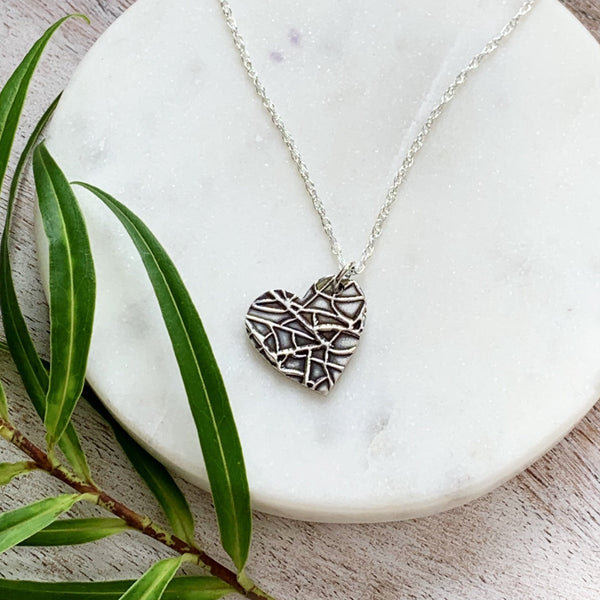 Patterned Heart Pendant - Silver Magpie Fingerprints