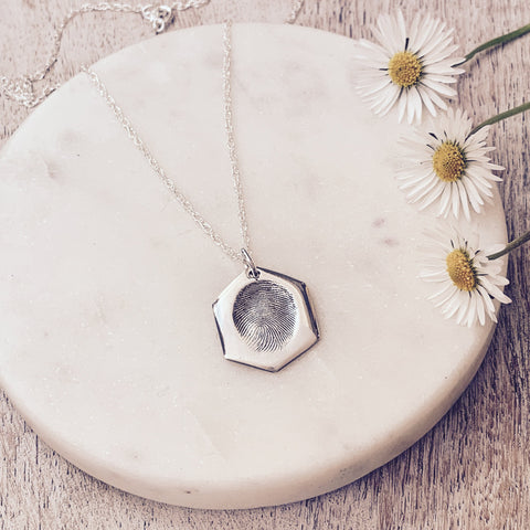 Hexagon Fingerprint Pendant - Silver Magpie Fingerprints