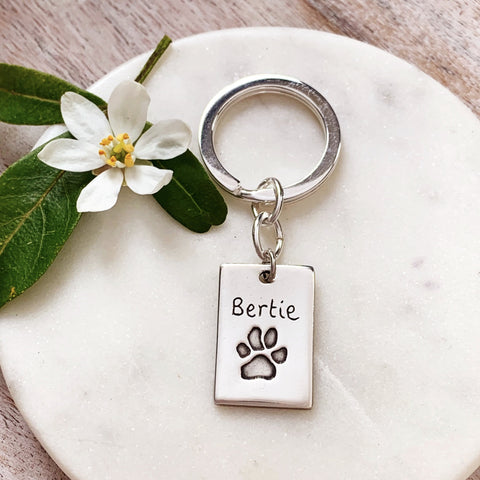 Paw Print Keyring - Silver Magpie Fingerprint Jewellery