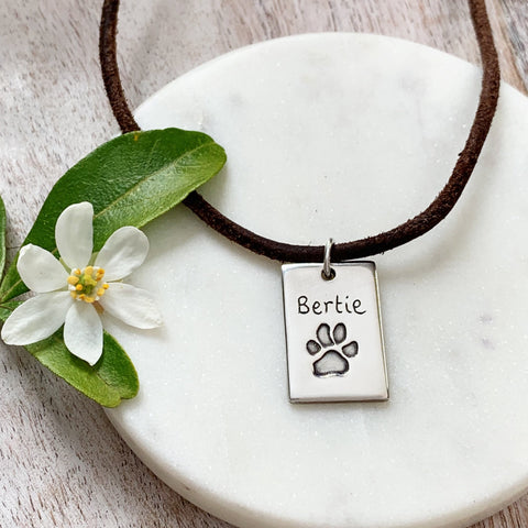 Paw Print Dog Tag - Silver Magpie Fingerprints