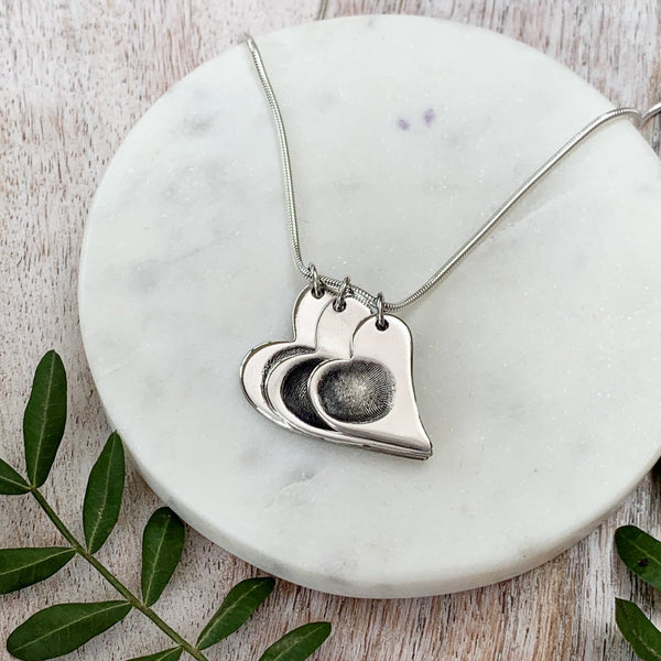 Triple Fingerprint Necklace (Offset Heart) - Silver Magpie Fingerprint Jewellery