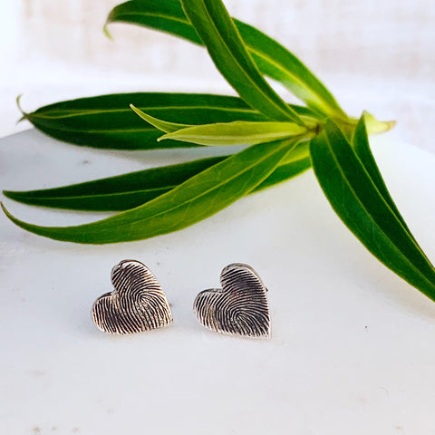 Fingerprint Earrings (Hearts) - Silver Magpie Fingerprint Jewellery