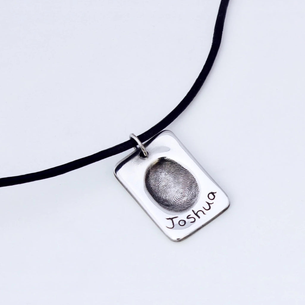 Fingerprint Dog Tag - Silver Magpie Fingerprints