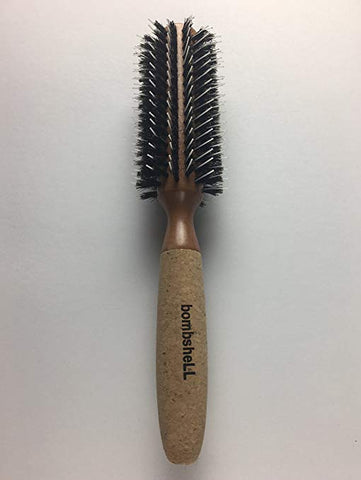 "bombsheLL Blowout Sustainable Wood, Cork Handle, Boar Bristle Brush, Medium 2"" + Nylon pins, 2.9 oz"