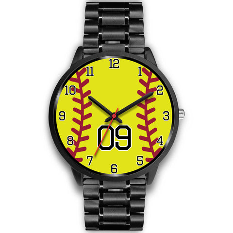 Image of Men's black softball watch - 09