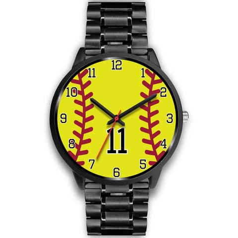 Image of Men's black softball watch - 11