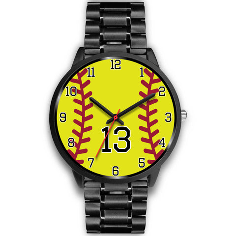 Image of Men's black softball watch - 13