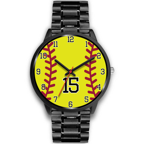 Image of Men's black softball watch - 15