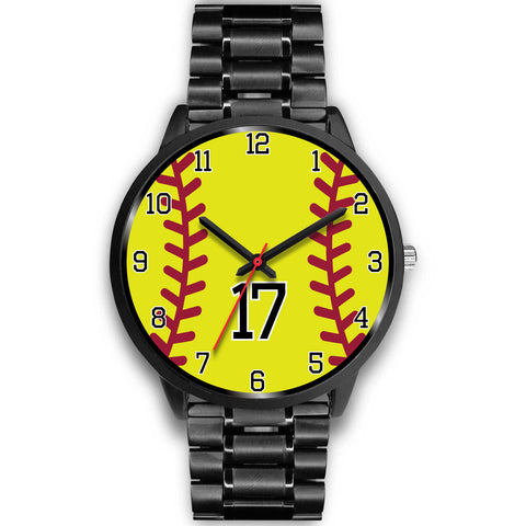 Image of Men's black softball watch - 17