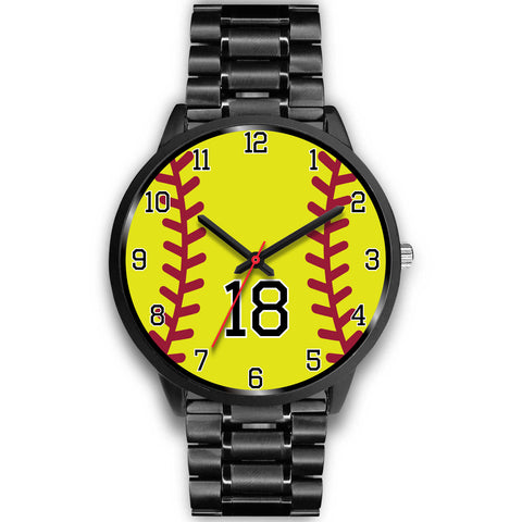 Image of Men's black softball watch - 18
