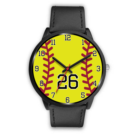 Image of Men's black softball watch - 26