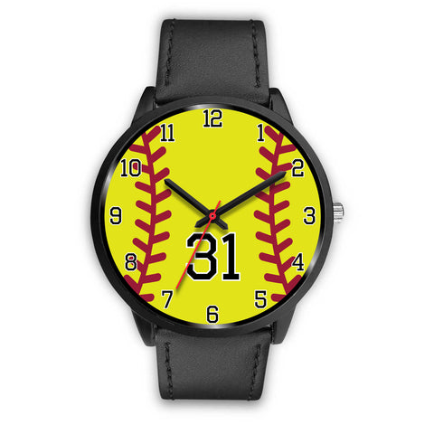 Image of Men's black softball watch - 31
