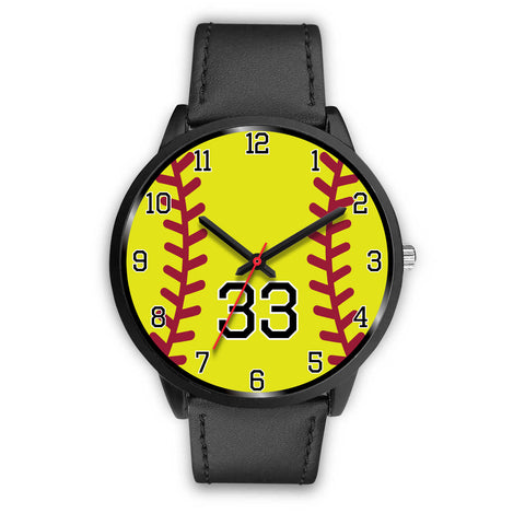 Image of Men's black softball watch - 33
