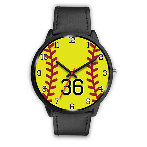 Image of Men's black softball watch - 36