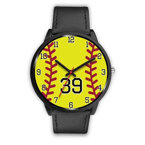Image of Men's black softball watch - 39