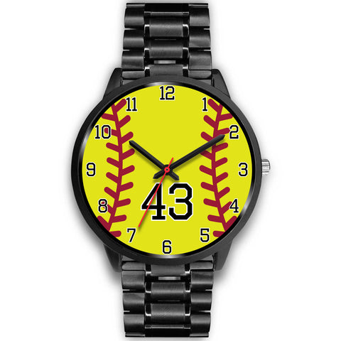 Image of Men's black softball watch - 43