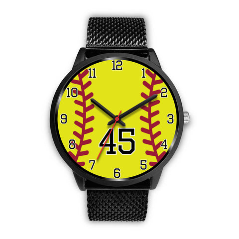 Men's black softball watch - 45