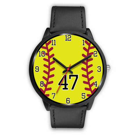 Image of Men's black softball watch - 47