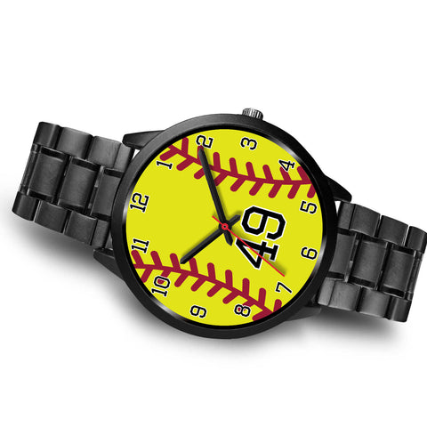 Image of Men's black softball watch - 49