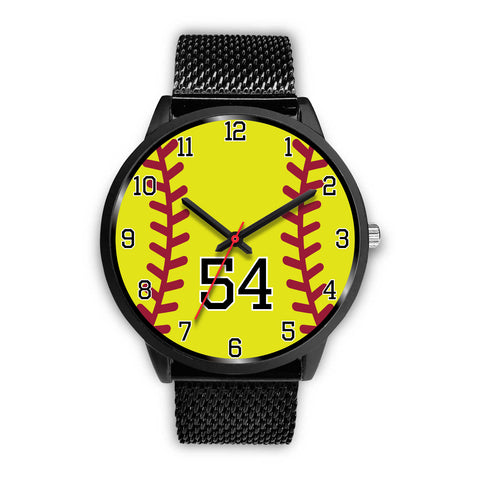 Image of Men's black softball watch - 54