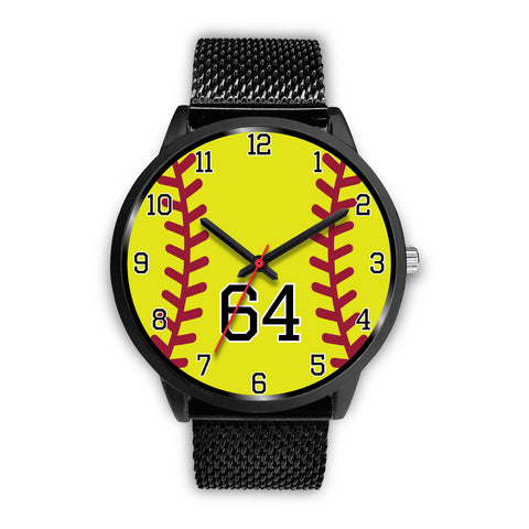 Image of Men's black softball watch - 64