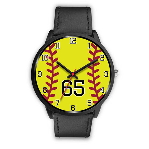 Image of Men's black softball watch - 65