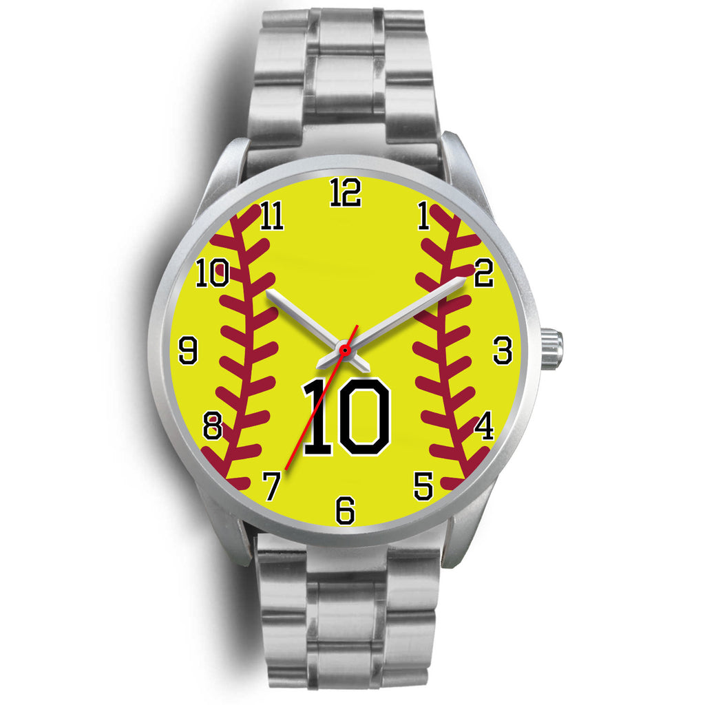Men's silver softball watch - 10
