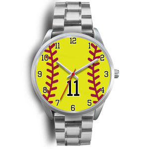 Men's silver softball watch - 11