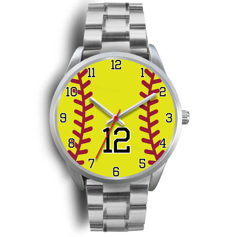 Men's silver softball watch - 12