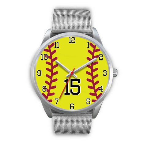 Men's silver softball watch - 15