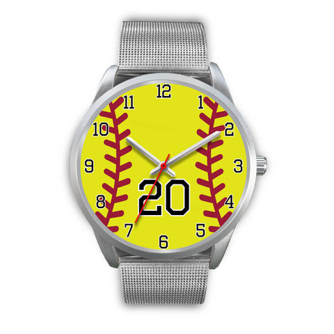 Men's silver softball watch - 20