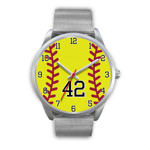 Image of Men's silver softball watch - 42