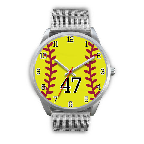 Men's silver softball watch - 47