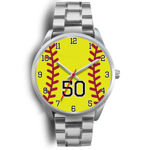 Men's silver softball watch - 50