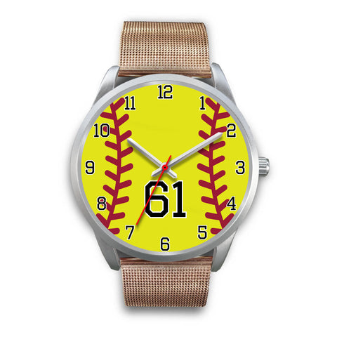 Men's silver softball watch - 61