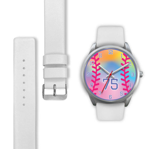Image of Girl's rainbow softball watch -75